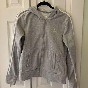Grey and White Adidas zip jacket size M